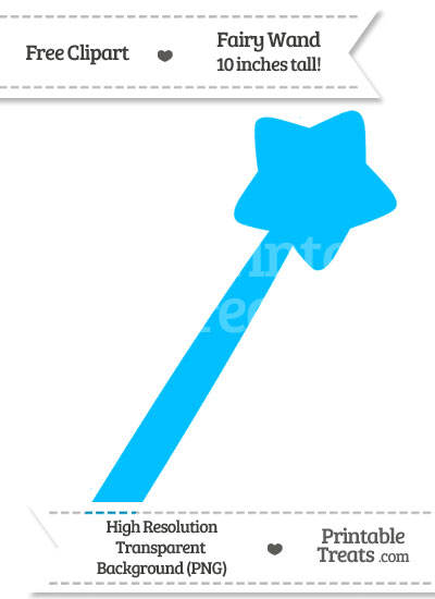 Deep Sky Blue Fairy Wand Clipart from PrintableTreats.com