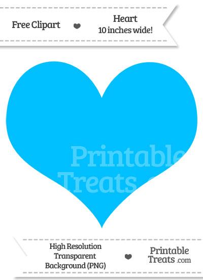 Deep Sky Blue Heart Clipart from PrintableTreats.com