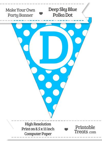 Deep Sky Blue Polka Dot Pennant Flag Capital Letter D from PrintableTreats.com