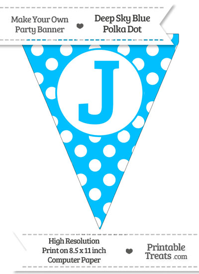 Deep Sky Blue Polka Dot Pennant Flag Capital Letter J from PrintableTreats.com
