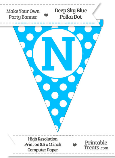 Deep Sky Blue Polka Dot Pennant Flag Capital Letter N from PrintableTreats.com