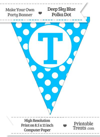 Deep Sky Blue Polka Dot Pennant Flag Capital Letter T from PrintableTreats.com
