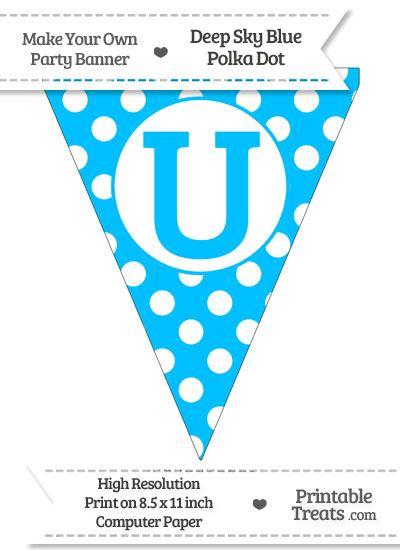 Deep Sky Blue Polka Dot Pennant Flag Capital Letter U from PrintableTreats.com