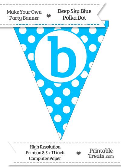 Deep Sky Blue Polka Dot Pennant Flag Lowercase Letter B from PrintableTreats.com