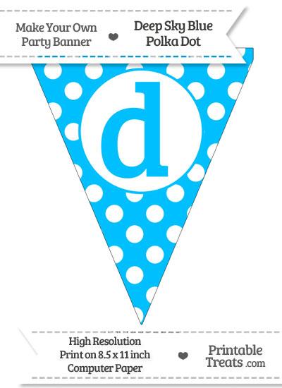 Deep Sky Blue Polka Dot Pennant Flag Lowercase Letter D from PrintableTreats.com