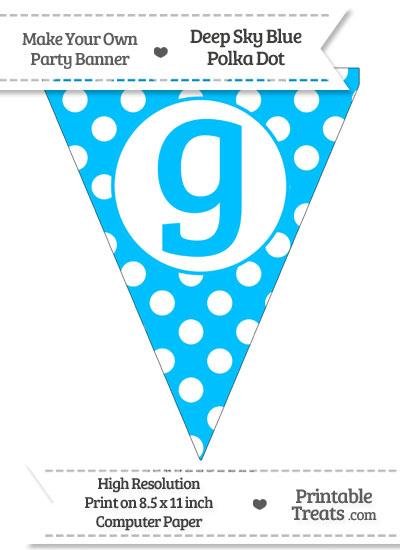 Deep Sky Blue Polka Dot Pennant Flag Lowercase Letter G from PrintableTreats.com