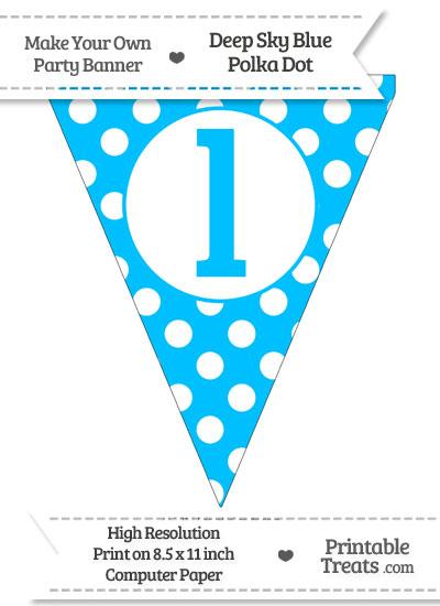 Deep Sky Blue Polka Dot Pennant Flag Lowercase Letter L from PrintableTreats.com