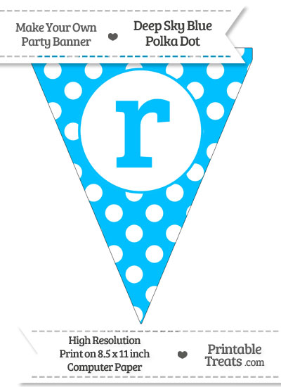 Deep Sky Blue Polka Dot Pennant Flag Lowercase Letter R from PrintableTreats.com