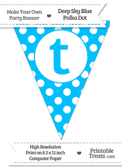 Deep Sky Blue Polka Dot Pennant Flag Lowercase Letter T from PrintableTreats.com
