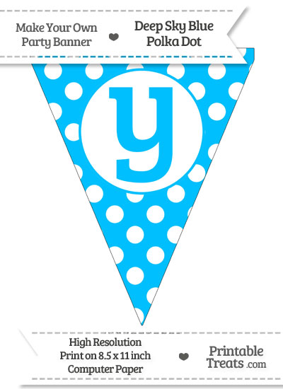 Deep Sky Blue Polka Dot Pennant Flag Lowercase Letter Y from PrintableTreats.com