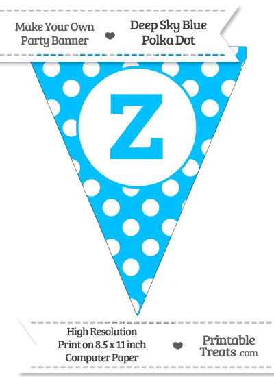 Deep Sky Blue Polka Dot Pennant Flag Lowercase Letter Z from PrintableTreats.com
