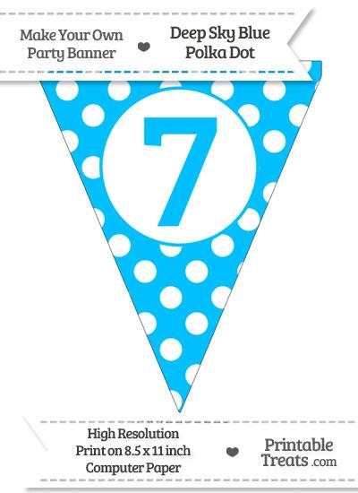 Deep Sky Blue Polka Dot Pennant Flag Number 7 from PrintableTreats.com