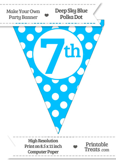 Deep Sky Blue Polka Dot Pennant Flag Ordinal Number 7th from PrintableTreats.com