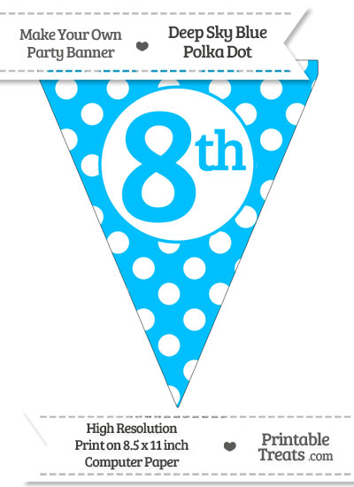 Deep Sky Blue Polka Dot Pennant Flag Ordinal Number 8th from PrintableTreats.com