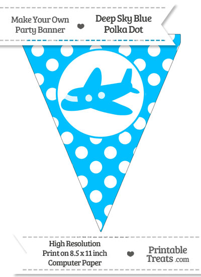 Deep Sky Blue Polka Dot Pennant Flag with Airplane Facing Left from PrintableTreats.com