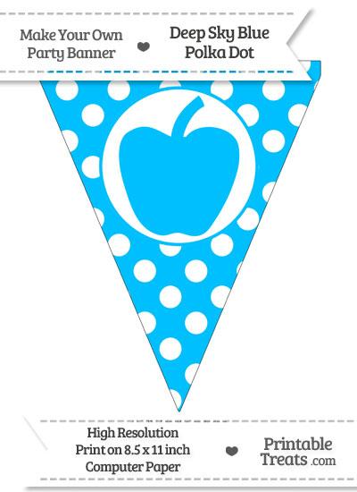 Deep Sky Blue Polka Dot Pennant Flag with Apple from PrintableTreats.com