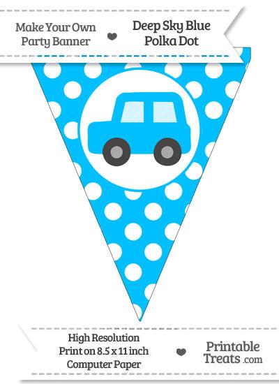 Deep Sky Blue Polka Dot Pennant Flag with Car Facing Left from PrintableTreats.com
