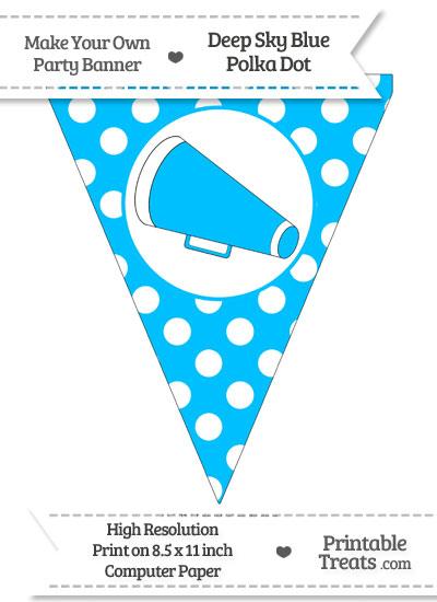 Deep Sky Blue Polka Dot Pennant Flag with Cheer Megaphone Facing Left from PrintableTreats.com