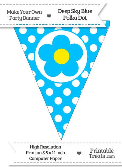Deep Sky Blue Polka Dot Pennant Flag with Flower from PrintableTreats.com