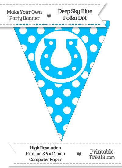 Deep Sky Blue Polka Dot Pennant Flag with Horseshoe from PrintableTreats.com