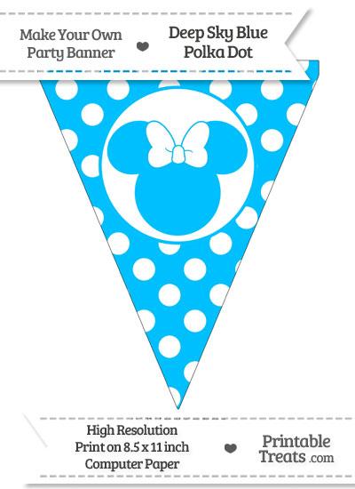 Deep Sky Blue Polka Dot Pennant Flag with Minnie Mouse from PrintableTreats.com