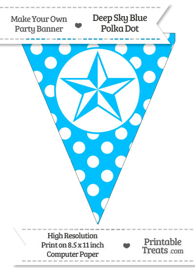 Deep Sky Blue Polka Dot Pennant Flag with Nautical Star from PrintableTreats.com