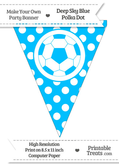 Deep Sky Blue Polka Dot Pennant Flag with Soccer Ball from PrintableTreats.com