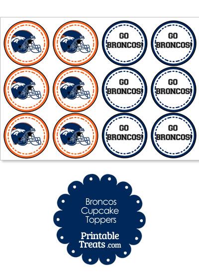 Denver Broncos Cupcake Toppers from PrintableTreats.com