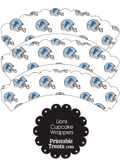 Detroit Lions Football Helmet Scalloped Cupcake Wrappers from PrintableTreats.com