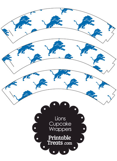 Detroit Lions Logo Cupcake Wrappers from PrintableTreats.com