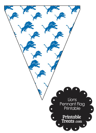 Detroit Lions Logo Pennant Banners from PrintableTreats.com
