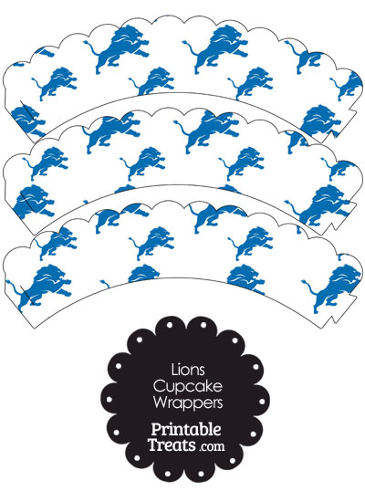Detroit Lions Logo Scalloped Cupcake Wrappers from PrintableTreats.com