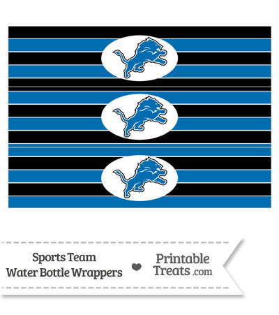 Detroit Lions Water Bottle Wrappers from PrintableTreats.com