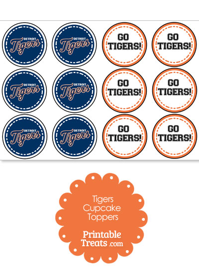 Detroit Tigers Cupcake Toppers from PrintableTreats.com