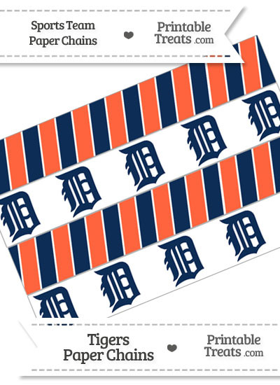 Detroit Tigers Paper Chains from PrintableTreats.com