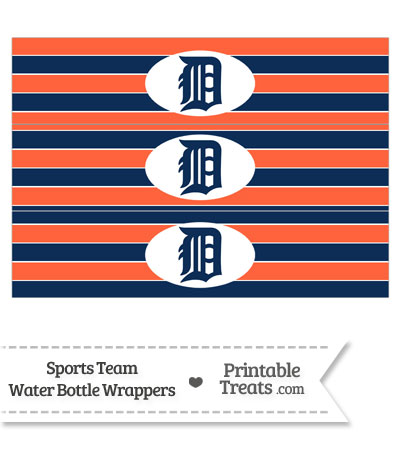 Detroit Tigers Water Bottle Wrappers from PrintableTreats.com