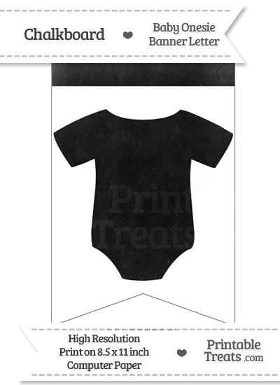 Dirty Chalkboard Baby Onesie Shaped Banner Blank Spacer Flag from PrintableTreats.com