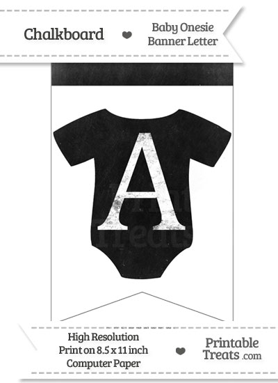 Dirty Chalkboard Baby Onesie Shaped Banner Letter A from PrintableTreats.com