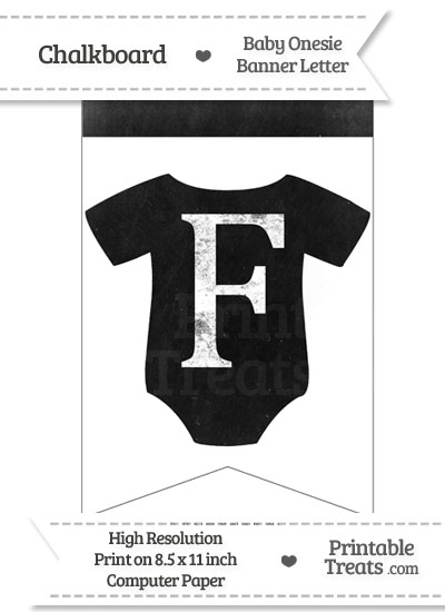 Dirty Chalkboard Baby Onesie Shaped Banner Letter F from PrintableTreats.com