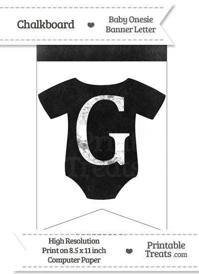 Dirty Chalkboard Baby Onesie Shaped Banner Letter G from PrintableTreats.com