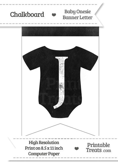 Dirty Chalkboard Baby Onesie Shaped Banner Letter J from PrintableTreats.com