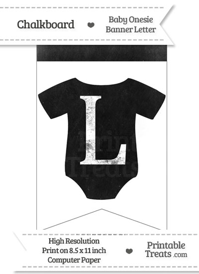 Dirty Chalkboard Baby Onesie Shaped Banner Letter L from PrintableTreats.com