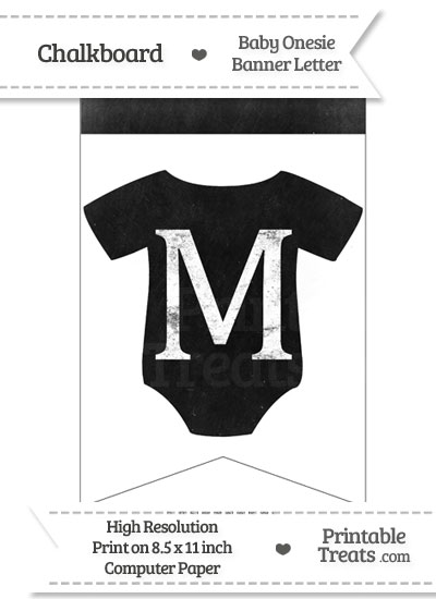 Dirty Chalkboard Baby Onesie Shaped Banner Letter M from PrintableTreats.com