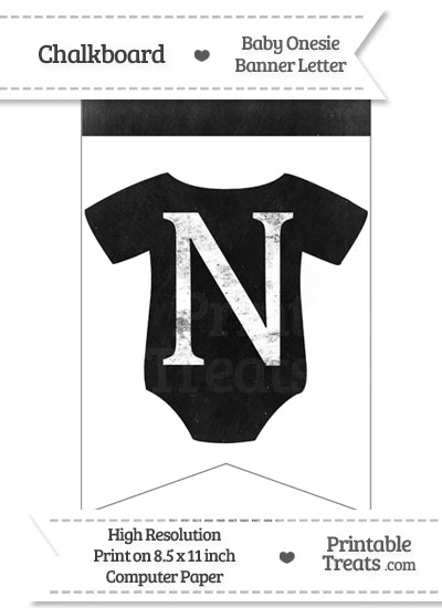 Dirty Chalkboard Baby Onesie Shaped Banner Letter N from PrintableTreats.com