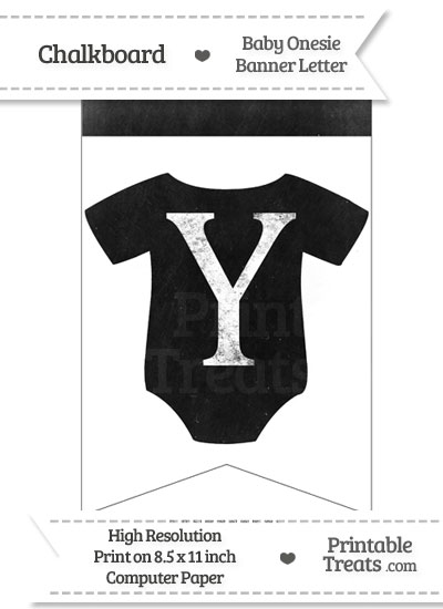 Dirty Chalkboard Baby Onesie Shaped Banner Letter Y from PrintableTreats.com