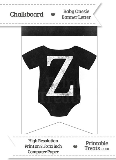 Dirty Chalkboard Baby Onesie Shaped Banner Letter Z from PrintableTreats.com