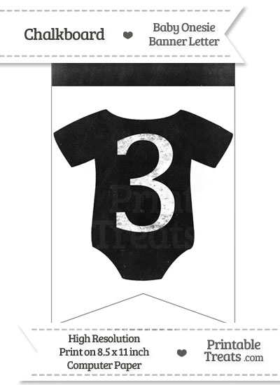 Dirty Chalkboard Baby Onesie Shaped Banner Number 3 from PrintableTreats.com