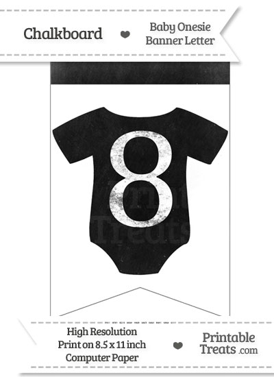Dirty Chalkboard Baby Onesie Shaped Banner Number 8 from PrintableTreats.com