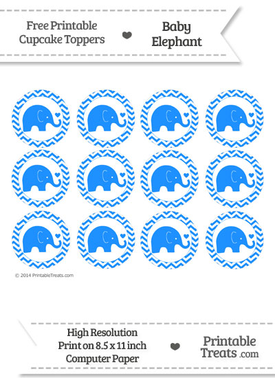 Dodger Blue Baby Elephant Chevron Cupcake Toppers from PrintableTreats.com