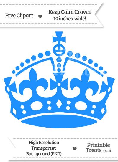 Dodger Blue Keep Calm Crown Clipart from PrintableTreats.com